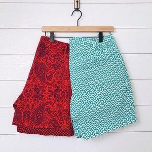 Lands' End • Shorts size 12 Mid Rise Red Green EUC